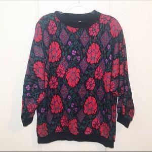Vintage Print Sweater Sz L